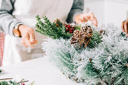 Woman Making a Christmas Wreath  image 1