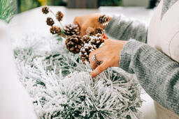 Woman Making a Christmas Wreath  image 1