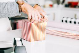 Woman Wrapping a Christmas Present  image 1
