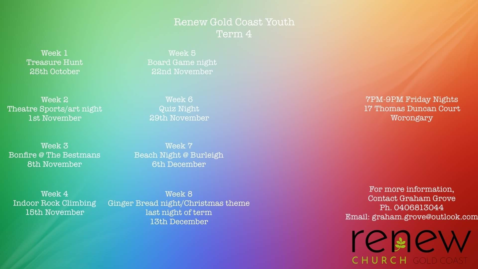 2019-10 Renew Youth Term 4 Activities