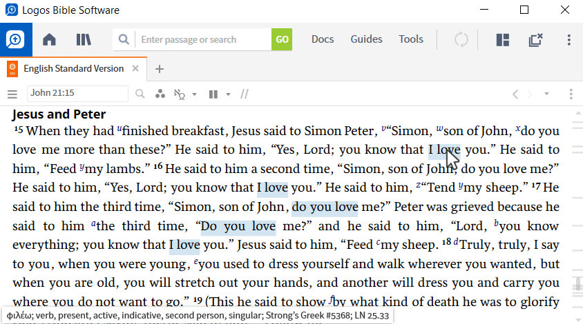 Logos desktop software is open on a computer, with a single pane open to John 21:15 in the English Standard Version. The user is using a visual filter for the phrase 'I love,' and Logos is highlighting other instances in the passage that use the same Greek verb.
