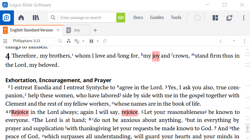 Logos desktop software is open on a computer, with a single pane open to Philippians 3:21 in the English Standard Version. A user-generated Visual Filter is applied, which is highlighting words like 'joy' and 'rejoice' in a light red color.