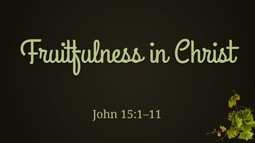 Fruitfulness in Christ