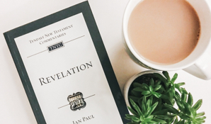 An image of a commentary volume on the book of Revelation lying on a white table next to a cup of coffee and a succulent houseplant.
