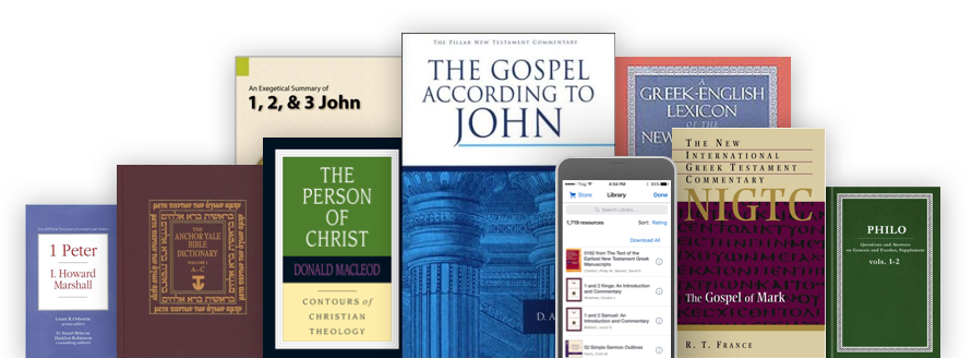 A stack of academic commentaries next to a mobile phone that's running the Logos mobile app
