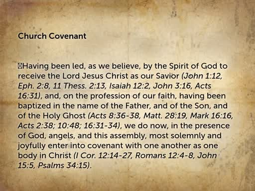 Nov 20, 2019 Wednesday - Church Covenant