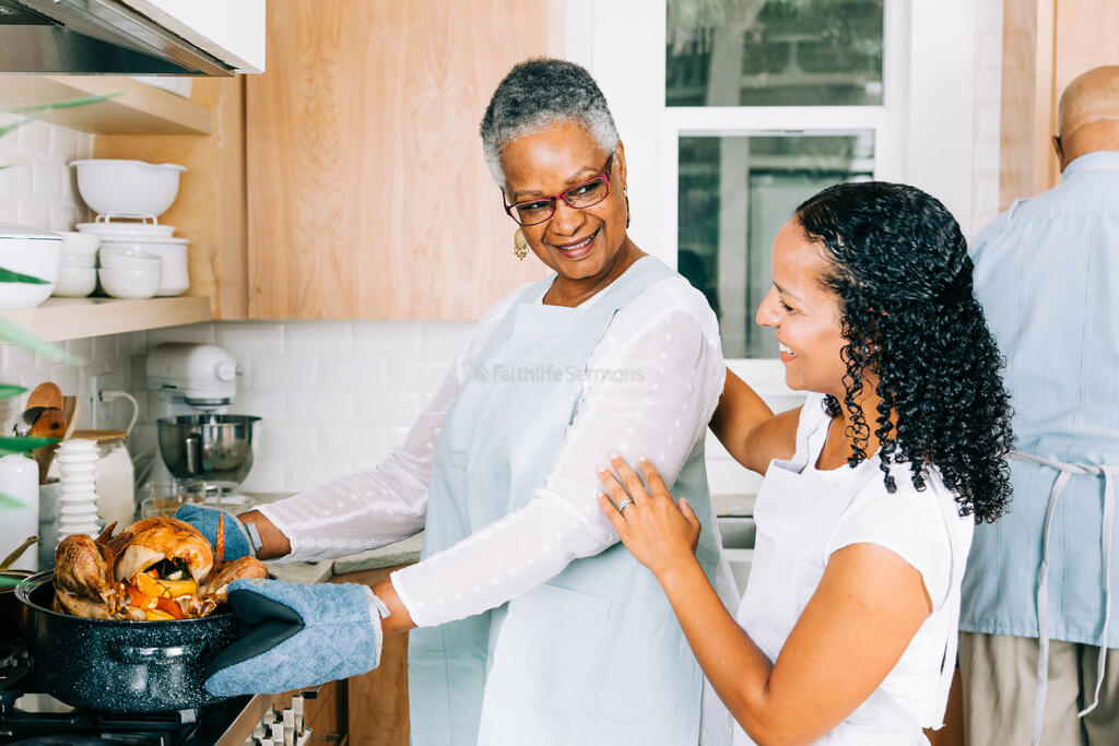Mother and Daughter Admiring the Thanksgiving Turkey large preview