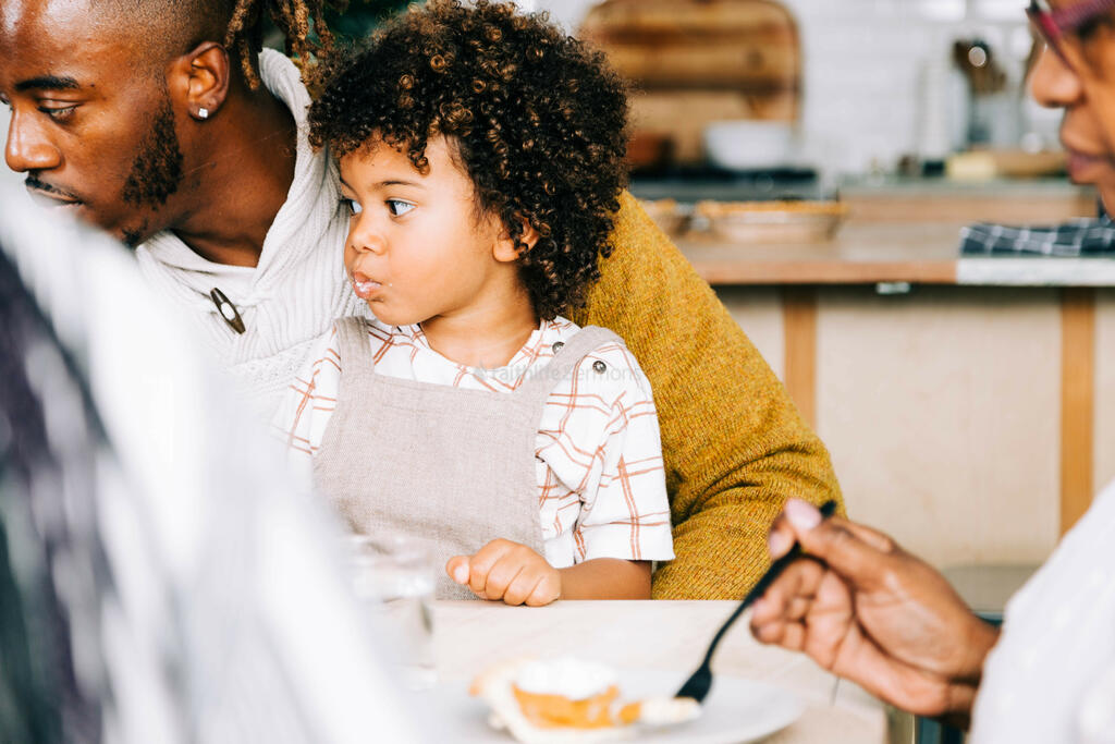 Child Seated on Father's Lap, Eating Pie large preview