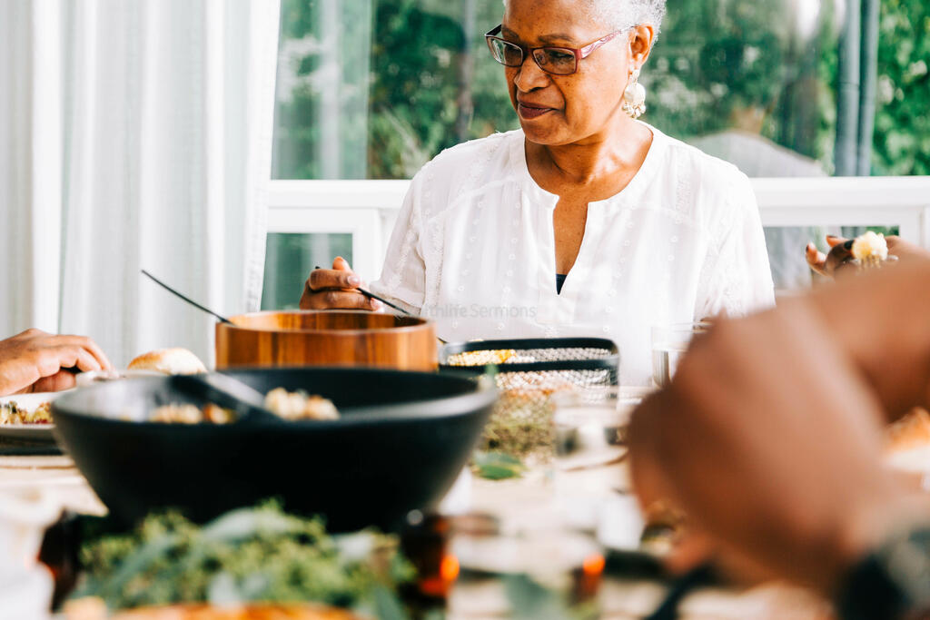 Grandmother Seated at the Thanksgiving Table large preview