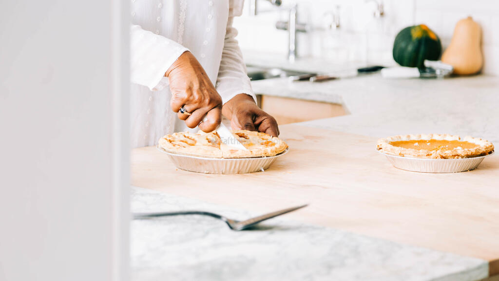Woman Slicing Apple Pie large preview