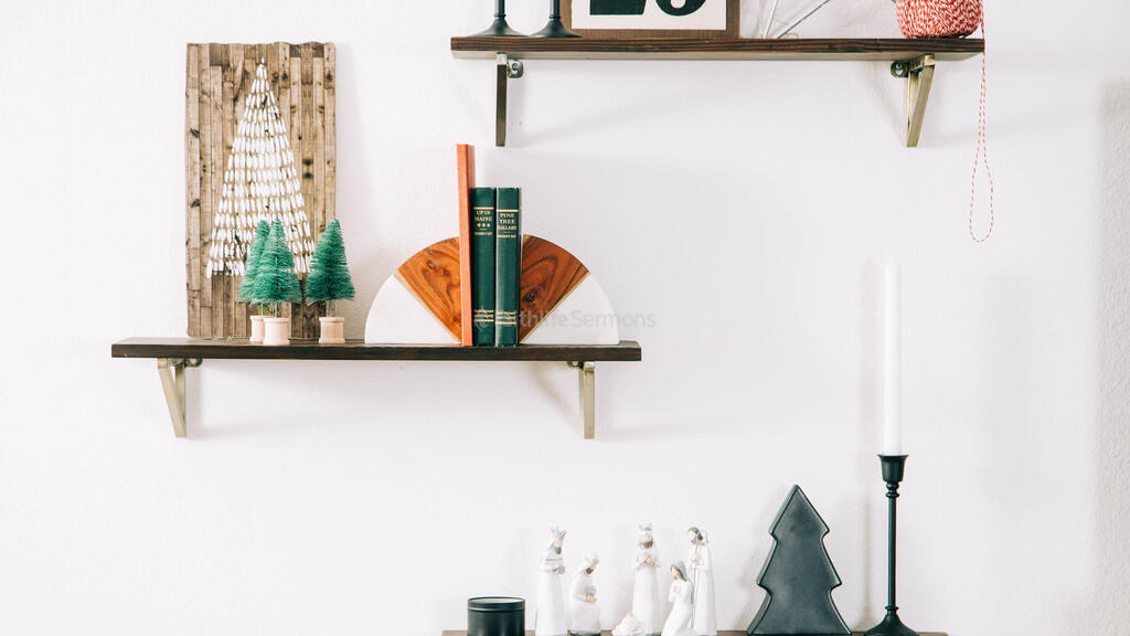 Christmas Decor on Floating Shelves large preview