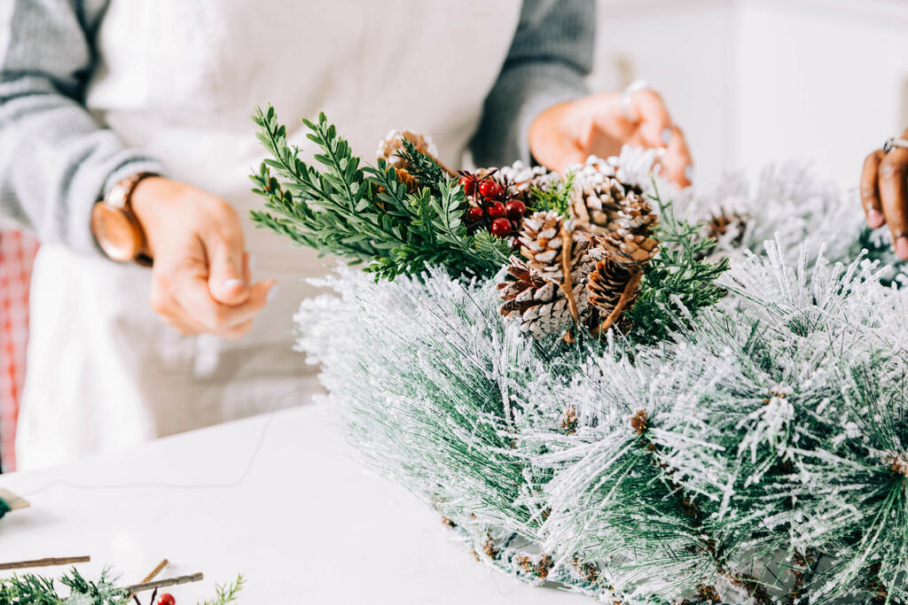 Woman Making a Christmas Wreath large preview