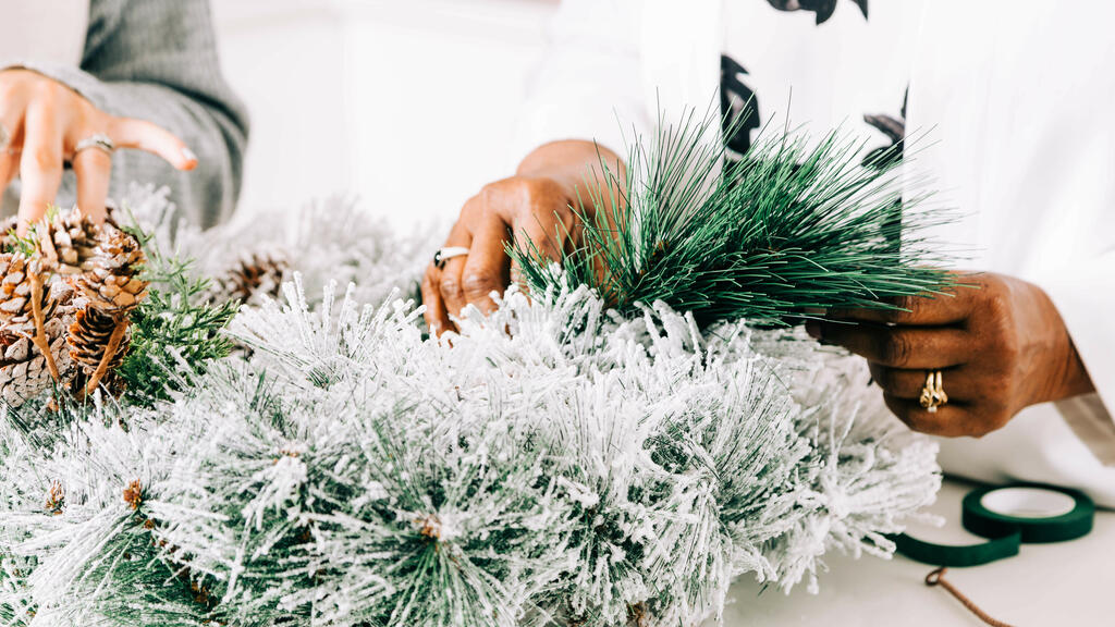 Women Making a Christmas Wreath large preview