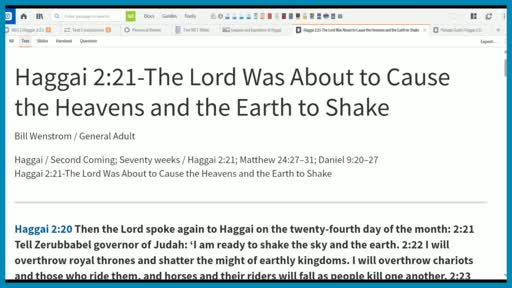 Haggai 2:21-The Lord Was About to Cause the Heavens and the Earth to Shake