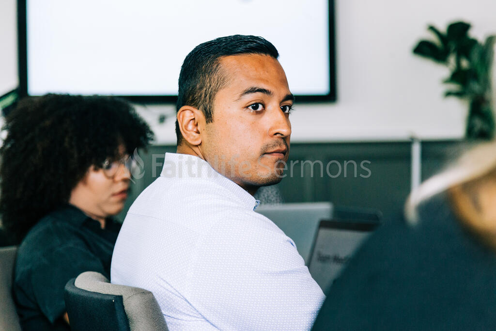 Man Listening During a Meeting large preview
