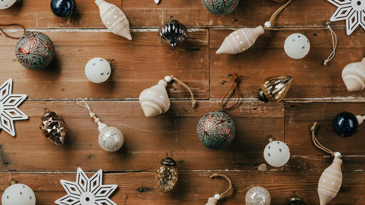 Scattered Christmas Ornaments