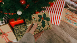 Placing a Christmas Present under the Tree  image 1