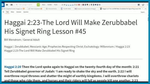Haggai 2:23-The Lord Will Make Zerubbabel His Signet Ring Lesson #45