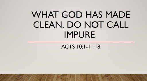What God has made clean, Do not call impure (Acts 10:1-11:18)