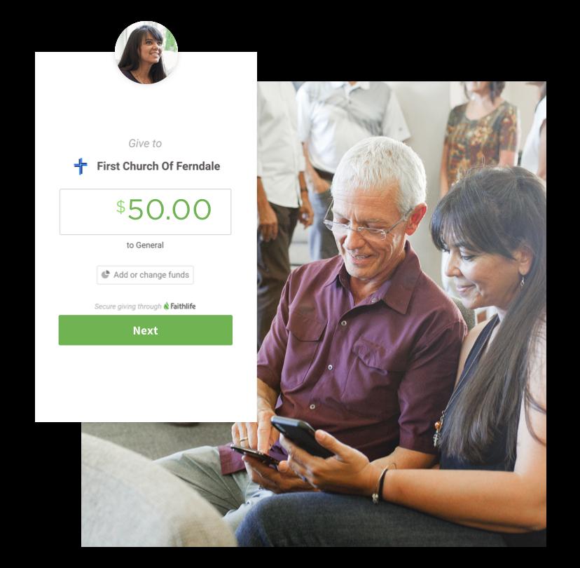 Church congregation members giving via the Faithlife app