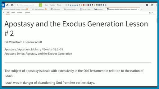 Apostasy and the Exodus Generation Lesson # 2