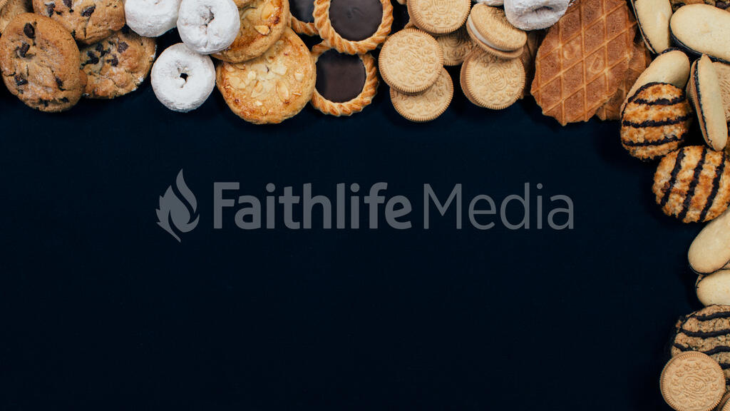 Cookies and donuts on top and right large preview