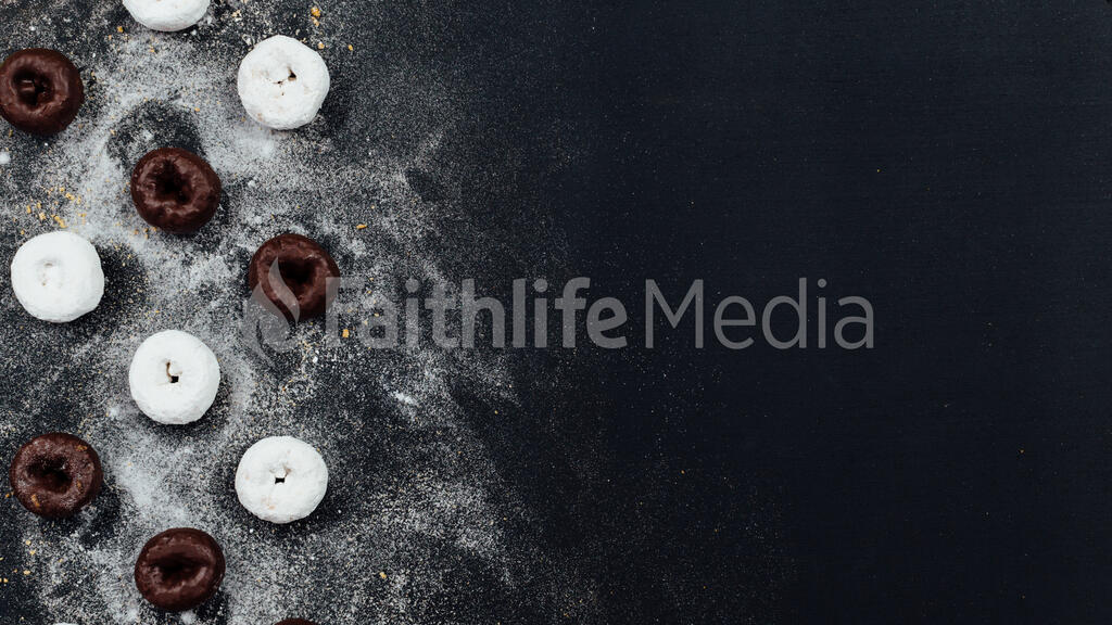 Powdered and chocolate donuts dusted with sugar large preview