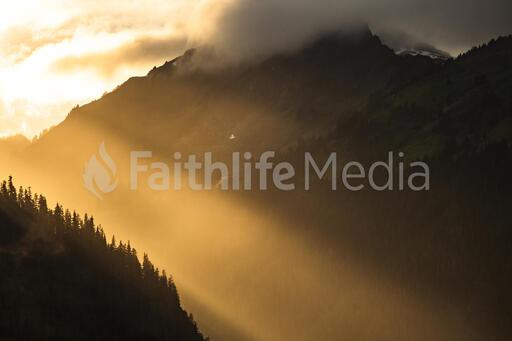 Sun Rays on a Mountain