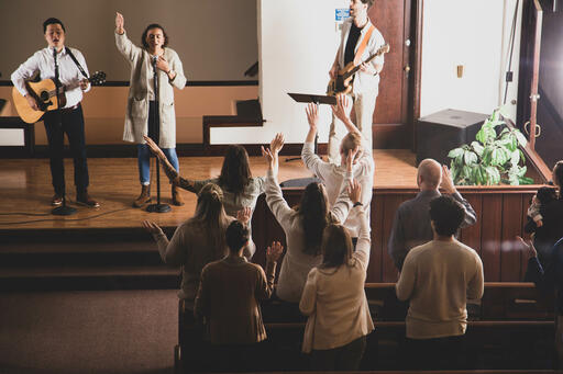 Worship Team Leading the Congregation on a Sunday Morning