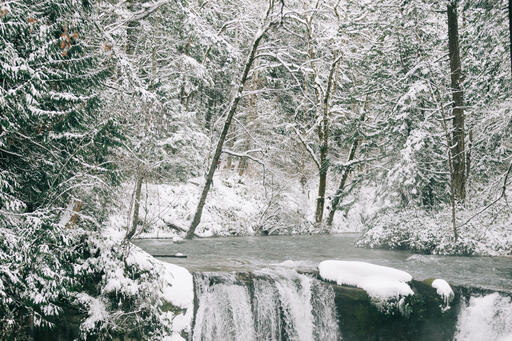 Waterfall in the Snow