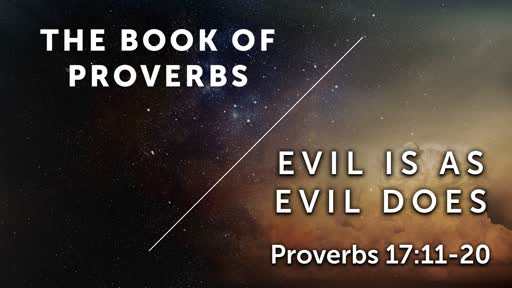 Evil Is As Evil Does - Proverbs 17:11-20