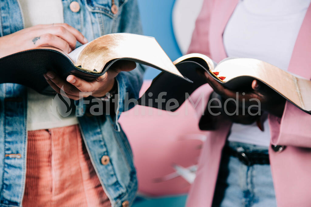 Young Women Reading the Bible Together large preview