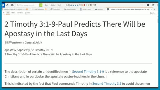 2 Timothy 3:1-9-Paul Predicts There Will be Apostasy in the Last Days