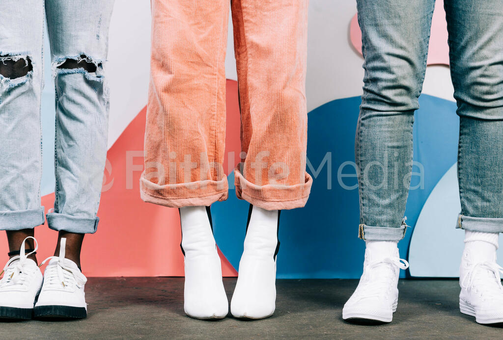 Young People Standing in White Shoes large preview