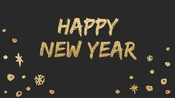 Gold New Year's happy year 16x9 PowerPoint Photoshop image