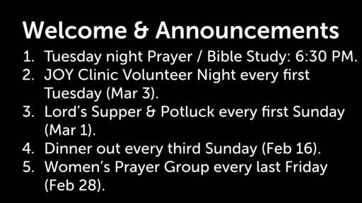 Sunday Service 2-16-20 - Prov 10:1-5 - Wisdom, Diligence, and Gladness
