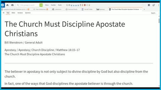 The Church Must Discipline Apostate Christians