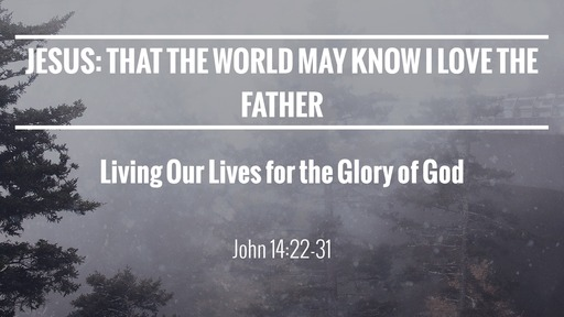 Jesus: That the World may know I love the Father