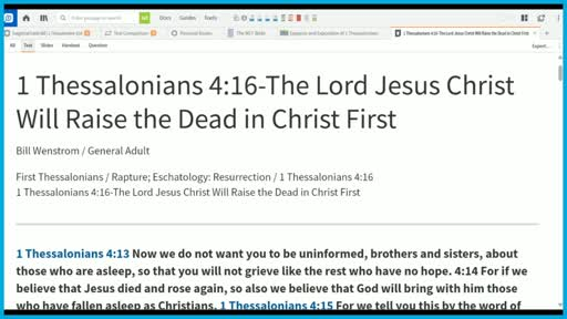 1 Thessalonians 4:16-The Lord Jesus Christ Will Raise the Dead in Christ First
