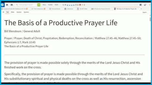 The Basis of a Productive Prayer Life
