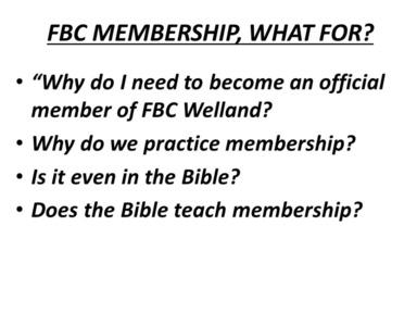 FBC Membership