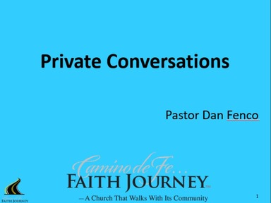 Pastor Dan Fenco:  Faith Journey