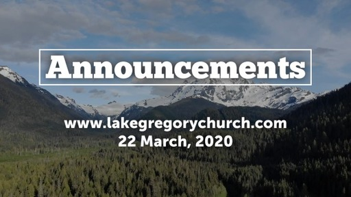 Announcements, Sunday, March 22