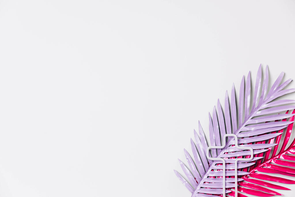 Hot Pink and Purple Palm Leaves with a Minimalist Cross Outline large preview