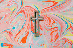 Cross on Pastel Marbled Background  image 1