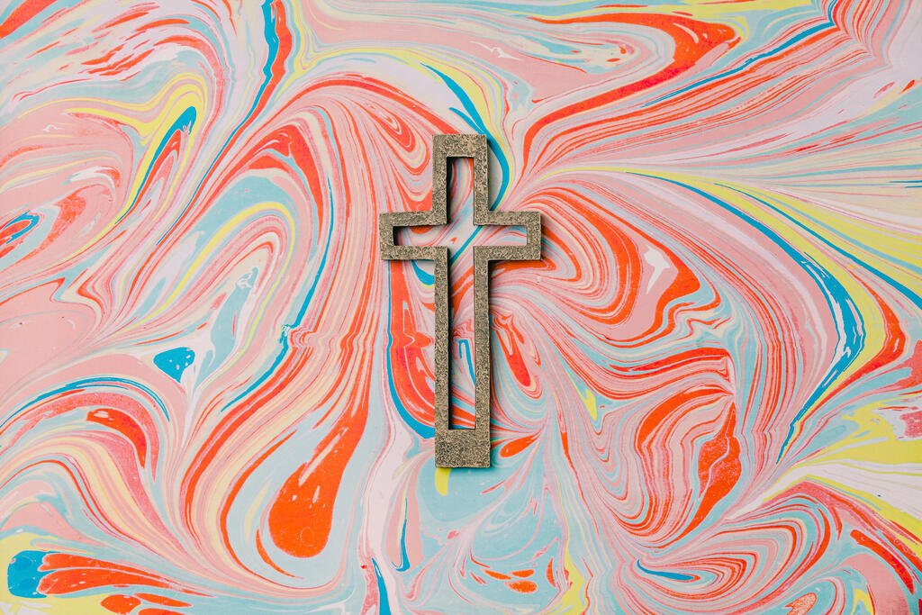 Cross on Pastel Marbled Background large preview