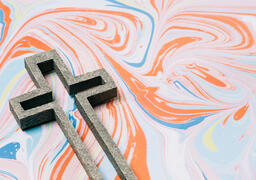Cross on Pastel Marbled Background  image 2