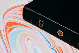 Bible on Pastel Marbled Background  image 1