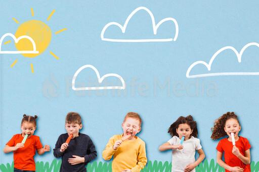 Kids Eating Popsicles in Summer Illustration