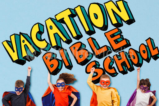 Kid Super Heroes with Vacation Bible School Graphic
